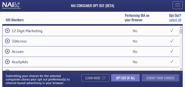 Screenshot of NAI Choice Tool