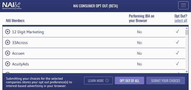 Screenshot of NAI Choice Tool