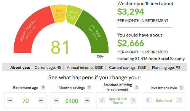 Screenshot of Fidelity Retirement Score with Retirement Age Adjusted
