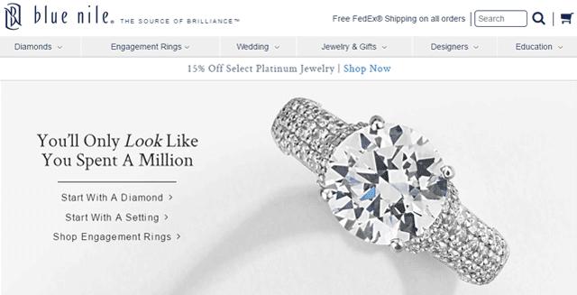 Screenshot of the Blue Nile homepage