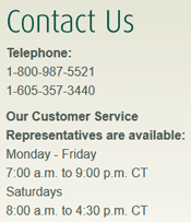 Screenshot of First PREMIER Customer Service Hours