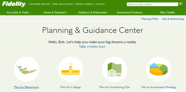 Screenshot of Fidelity Planning & Guidance Center