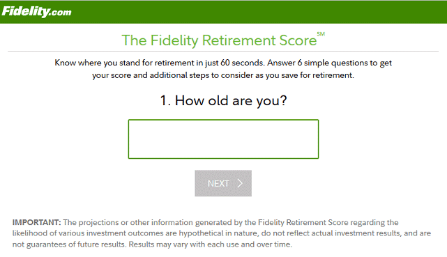 Screenshot of Retirement Score Question 1