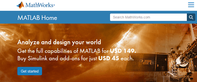 Screenshot of MATLAB Download Page