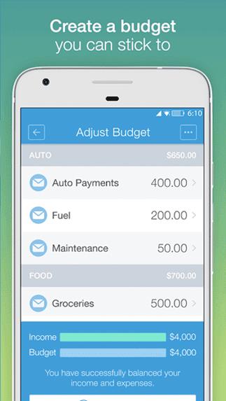 Screenshot of Mvelopes App