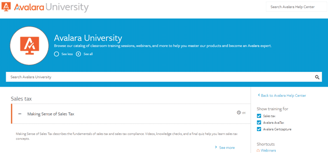 Screenshot from the Avalara University page
