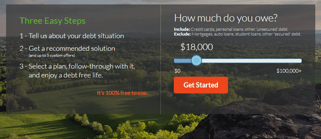 Screenshot from the Debt Navigator tool