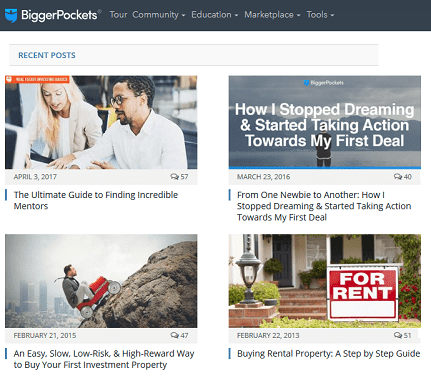 Screenshot of BiggerPockets Blog