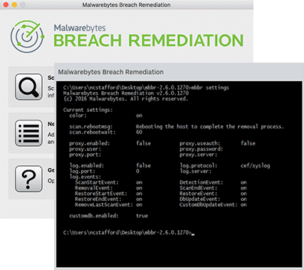 Screenshot of Malwarebytes Breach Remediation