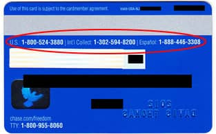 Image of credit card customer service number