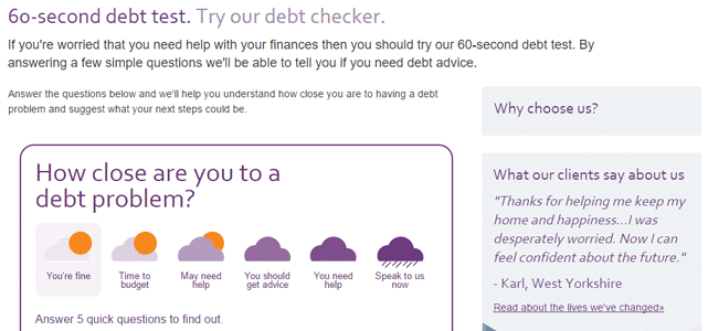 Screenshot of StepChange's debt checker questionnaire
