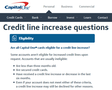 Screenshot of Capital One Credit Increase FAQ