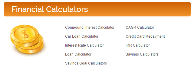 Screenshot of Financial Calculators on The Calculator Site homepage