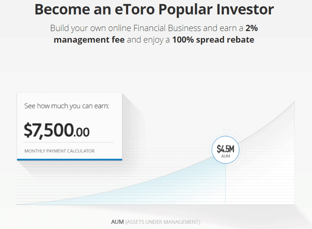 Screenshot of earnings possible through the eToro Popular Investor program