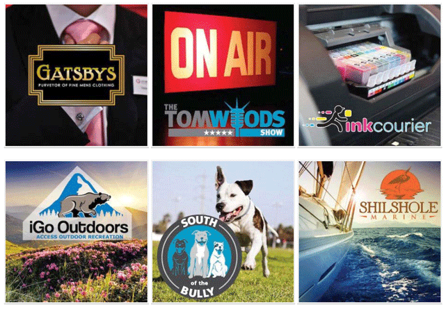 Screenshot of recent logo projects from Logoworks' designers