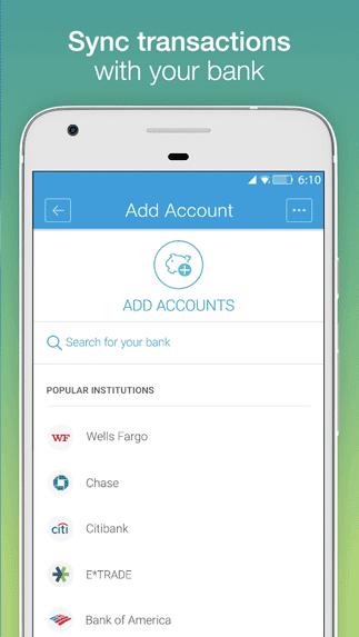 Screenshot of Mvelopes Account Sync