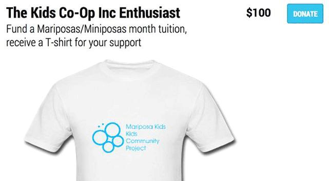 Screenshot of a T-shirt gift through Fundly