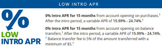 Screenshot of Chase Freedom 0% APR Offer