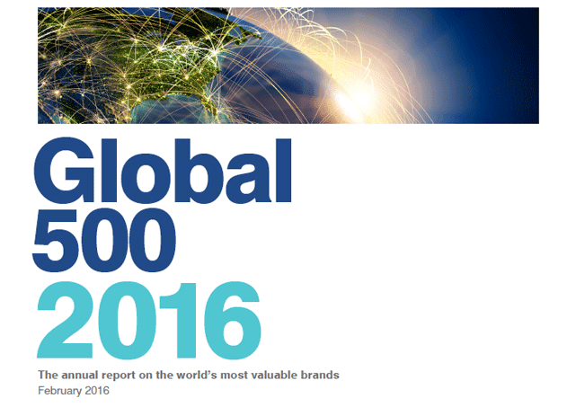 Screenshot of Brand Finance's Global 500 report for 2016