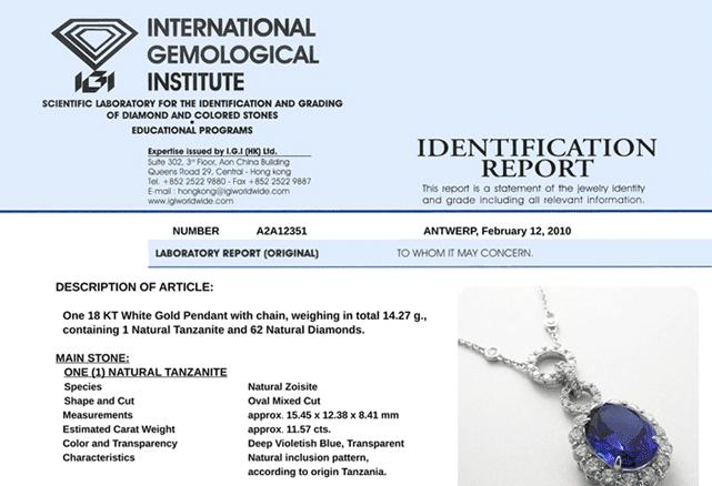 An example of an IGI certificate