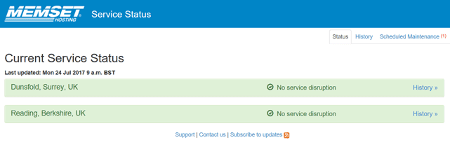 Screenshot of Memset's Service Status page