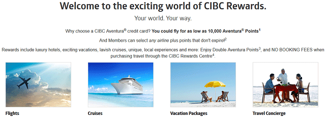 Screenshot of Adventura Travel Rewards Page