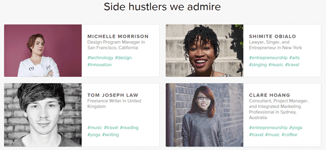 Screenshot from the about.me Side Hustlers page