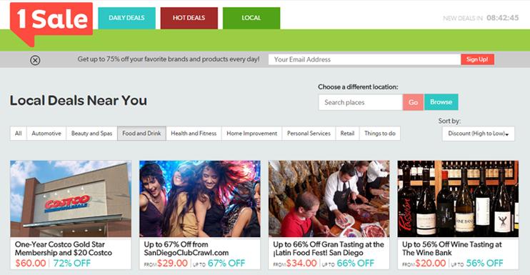 Screenshot of 1Sale.com local deals page