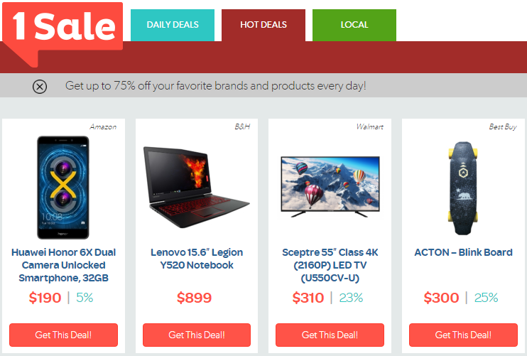 Screenshot of 1Sale Hot Deals page