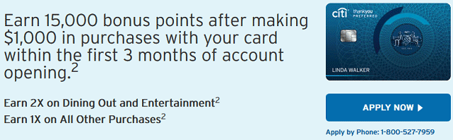 Screenshot of Citi ThankYou Card Signup Bonus
