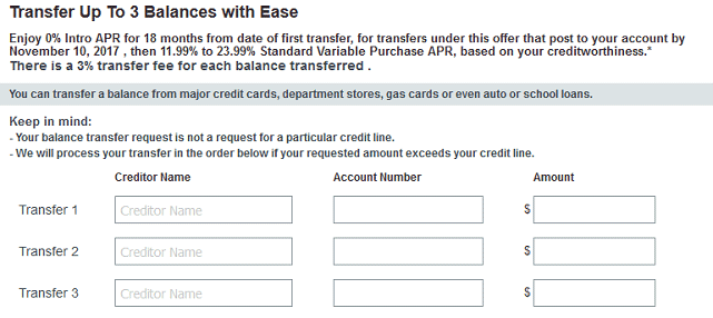 Screenshot of Credit Card Application Balance Transfer Request Form