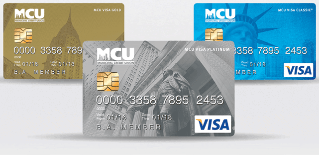 Photo of MCU's Classic, Gold, and Platinum Visa cards