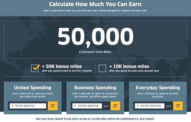 Screenshot of a rewards calculator on the United website