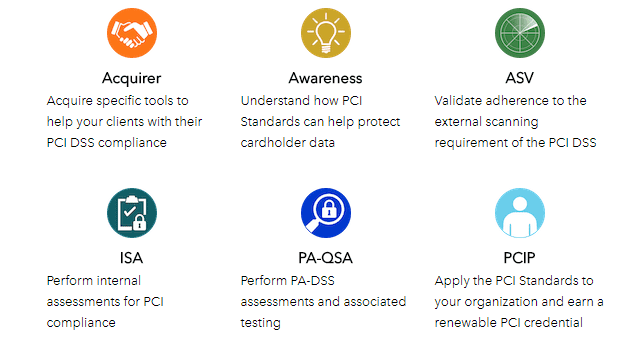 Screenshot of some courses available in the PCI Standards Training Program