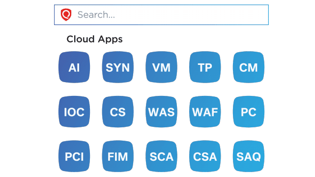 Screenshot of applications within the Qualys suite