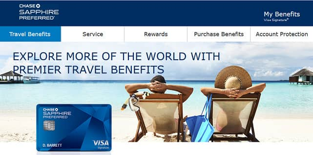 Screenshot of Sapphire Preferred Travel Page