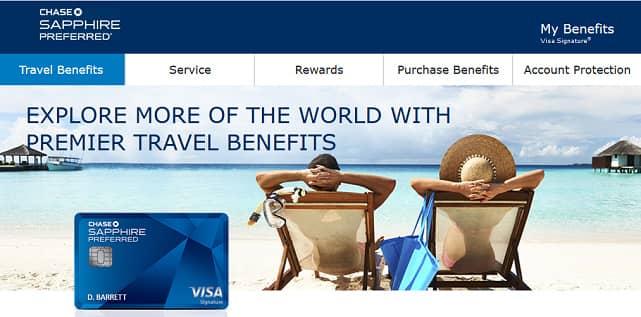 Screenshot of Sapphire Preferred Travel Page