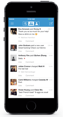 Screenshot of an example Venmo social feed