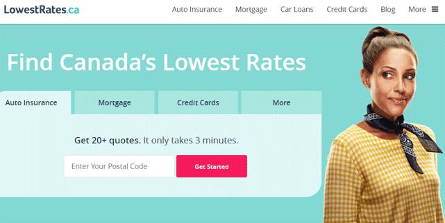 Screenshot of the LowestRates.ca homepage