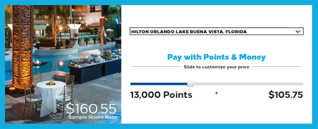 Screenshot of the Hilton Honors Points and Money Slider