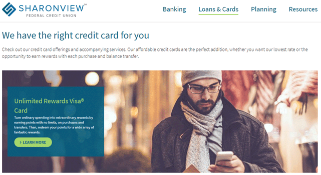 Screenshot of the Sharonview Credit Cards page