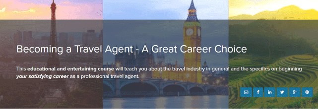 Screenshot from the Becoming a Travel Agent Course Page