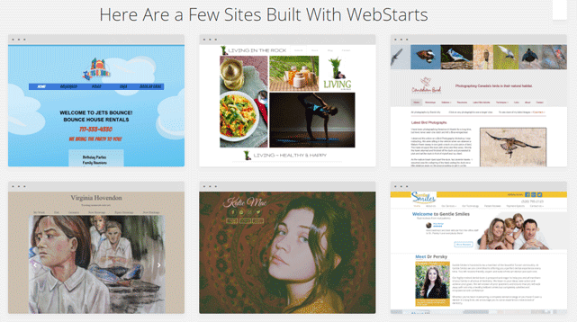 Screenshot of Examples of Sites Built on WebStarts