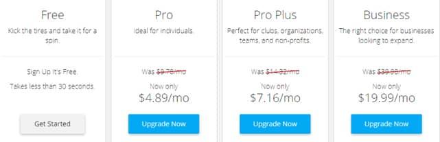 Screenshot of WebStarts' Pricing Tiers
