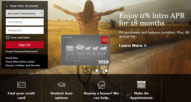 Screenshot of Wells Fargo Homepage