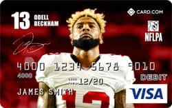 Photo of a sample Card.com Debit Card