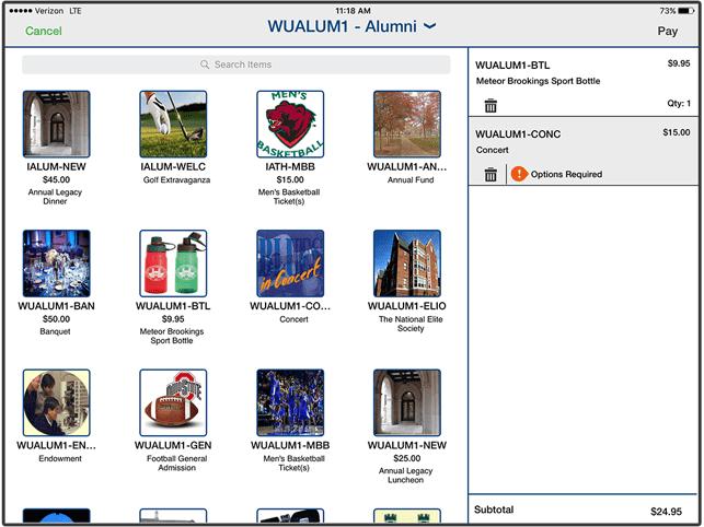 Screenshot of Cashnet's Online Storefront