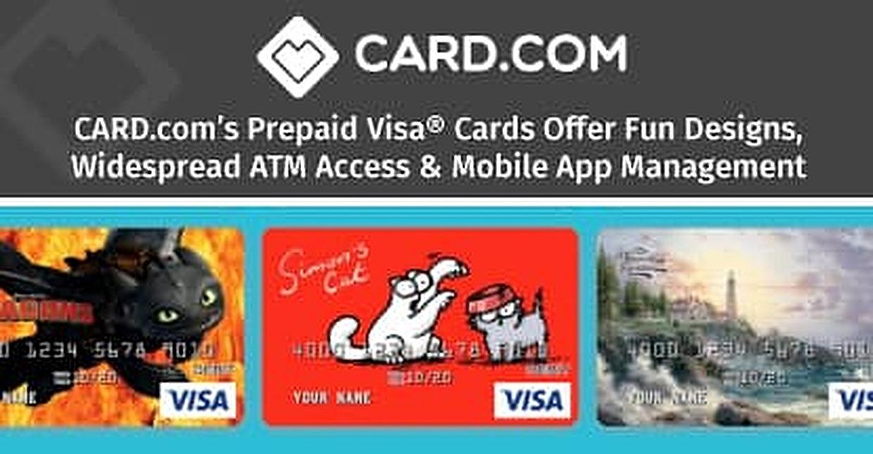 CARD.com's Prepaid Visa® Cards Offer Fun Designs, Widespread ATM Access & Mobile App Management