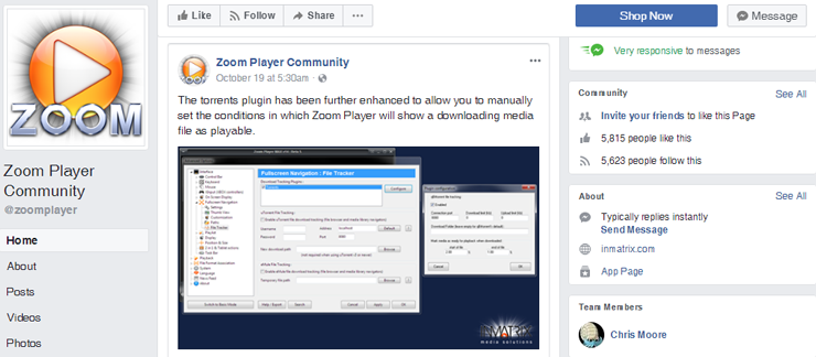 Screenshot of Zoom Player Facebook community