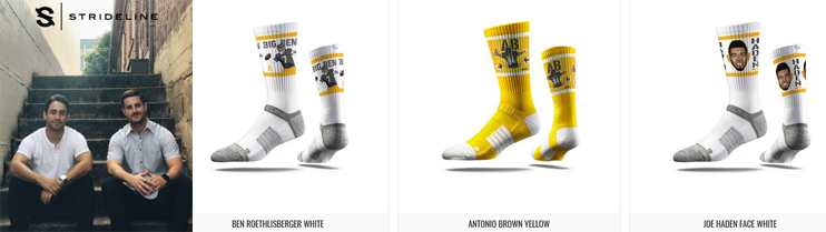 Photo of Strideline founders and socks